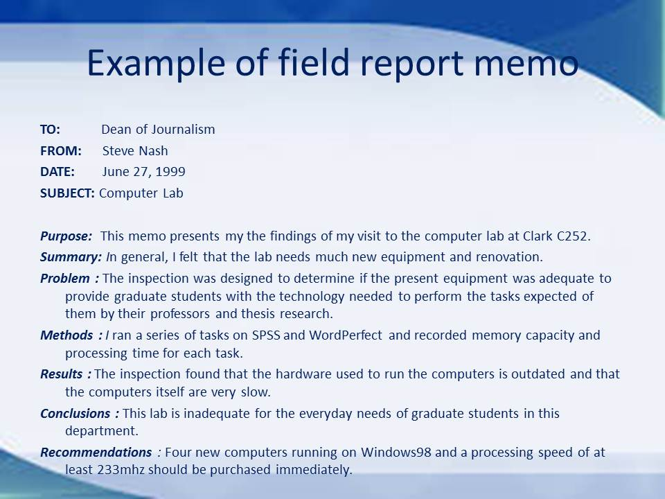 field report memo sample